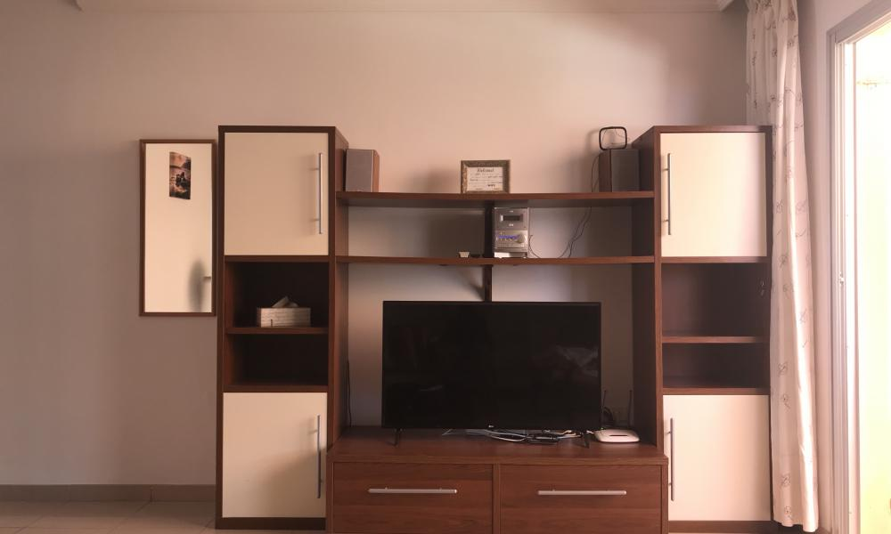 tv corner with safe